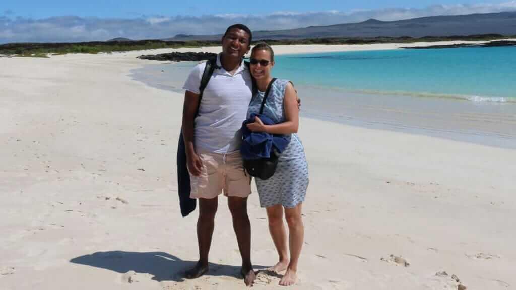 tourist couple at cerro brujo san cristobal