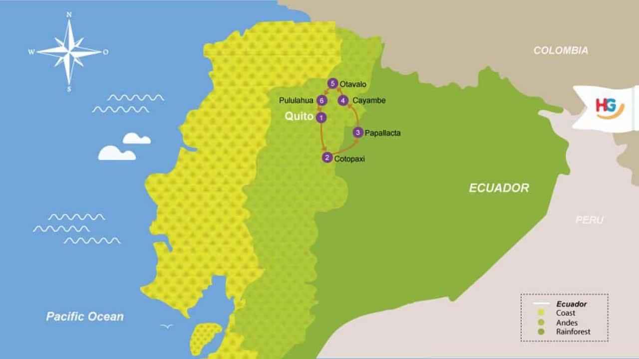 ecuador-biking-tour-itinerary-map