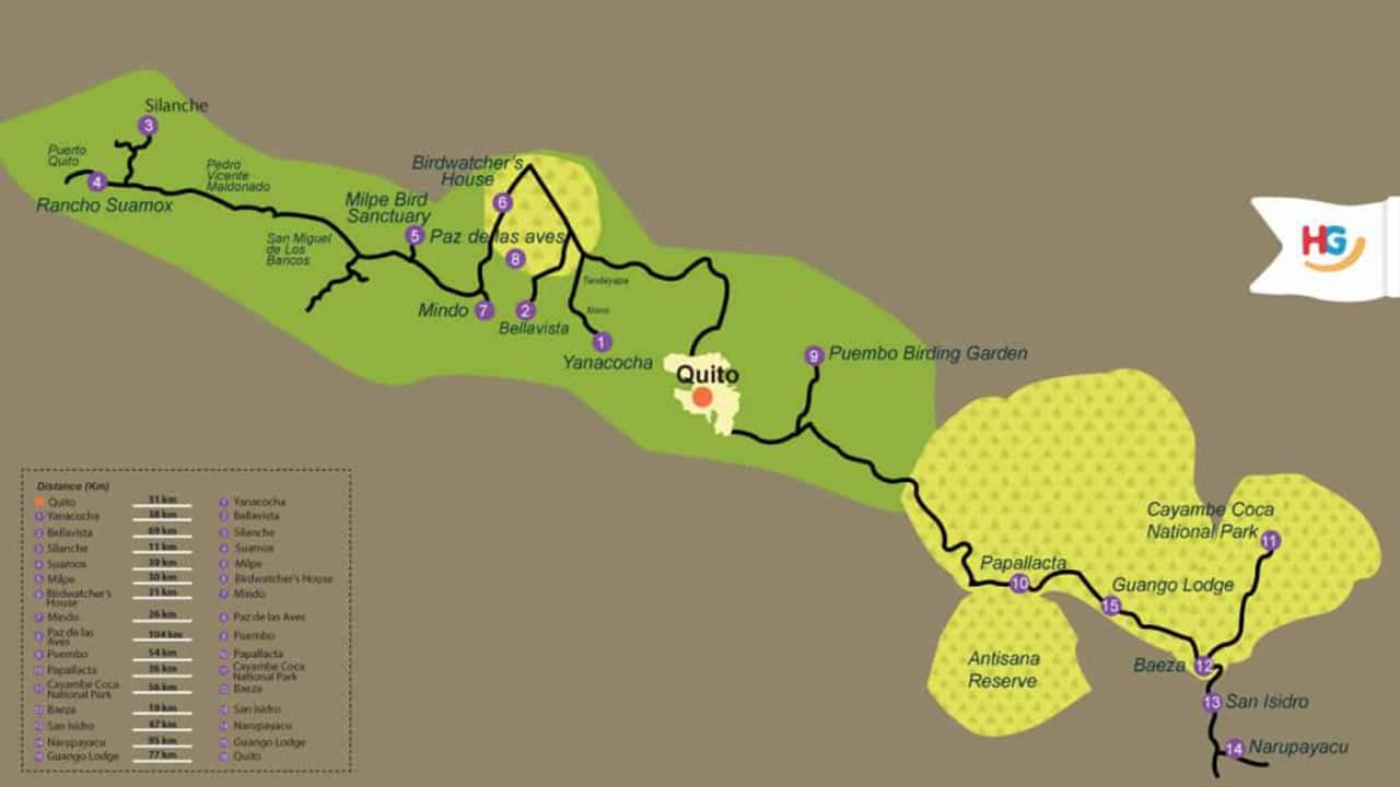 ecuador-birding-choco-highlands-and-slopes-itinerary-map
