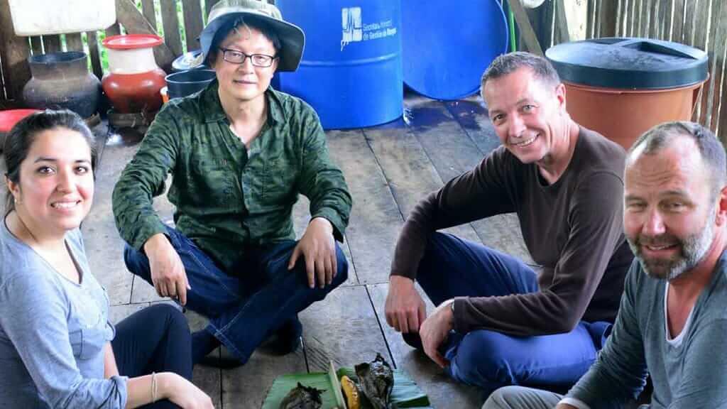 happy tourist-in-the-amazon-rainforest-in-ecuador