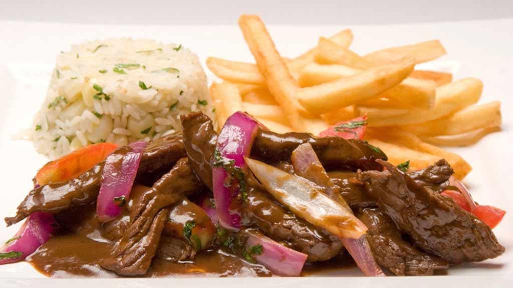 peruvian lomo saltado food