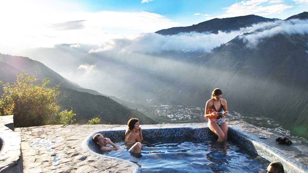 spectacular view from luna volcan spa hot spring pool baños ecuador