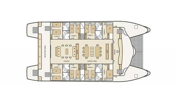 archipel I Galapagos Cruise Catamaran– Archipel I main deck