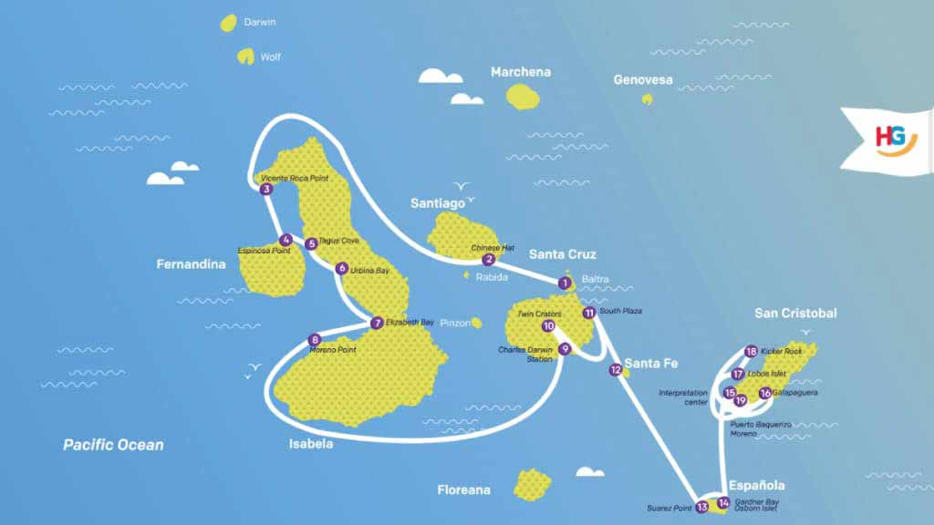 ocean spray galapagos cruise map - itinerary A 8 days south and west