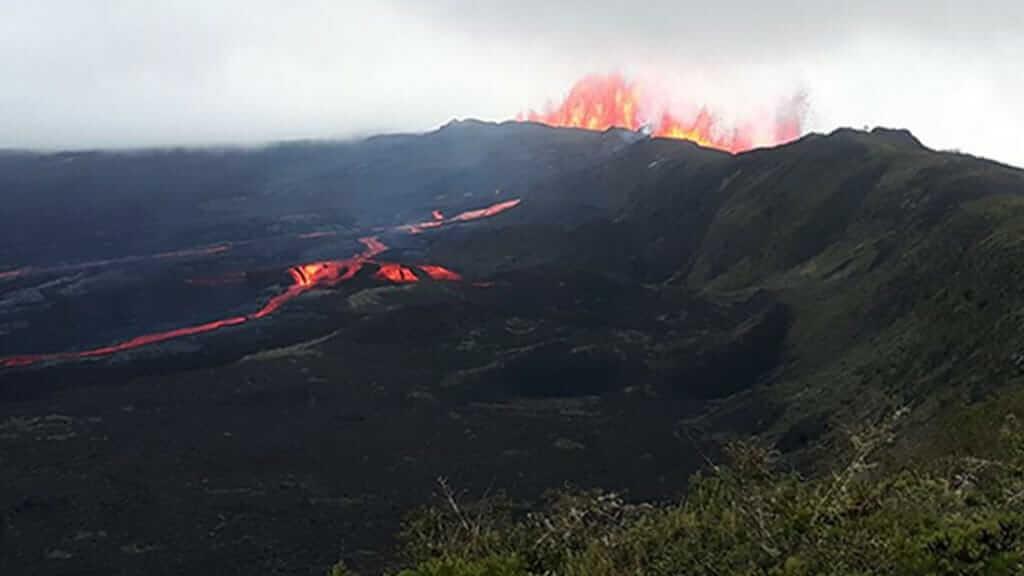 Sierra Negra volcano eruption in 2018 at galapagos islands