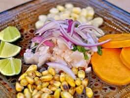 peruvian food - ceviche is a typical peru dish