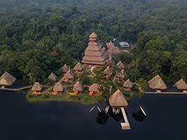 aerial view of napo wildlife center yasuni ecuador amazon