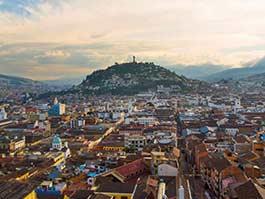 view of panecillo hill and virgin statue in quito ecuador