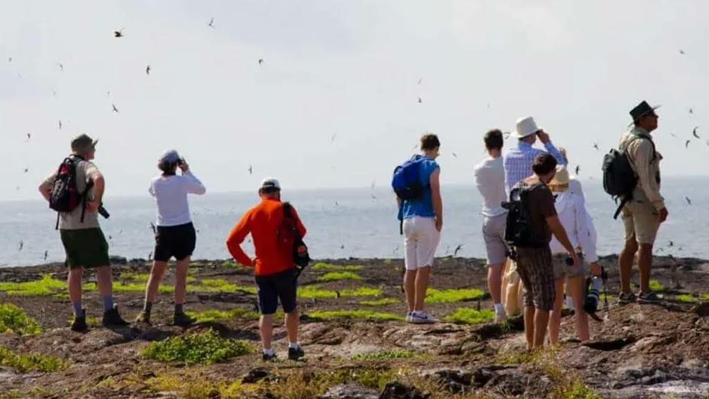 tourists in galapagos islands