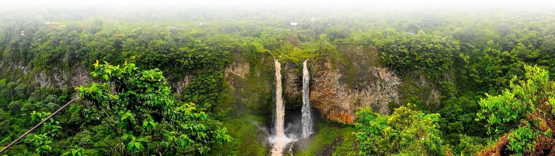 banos ecuador twin waterfalls