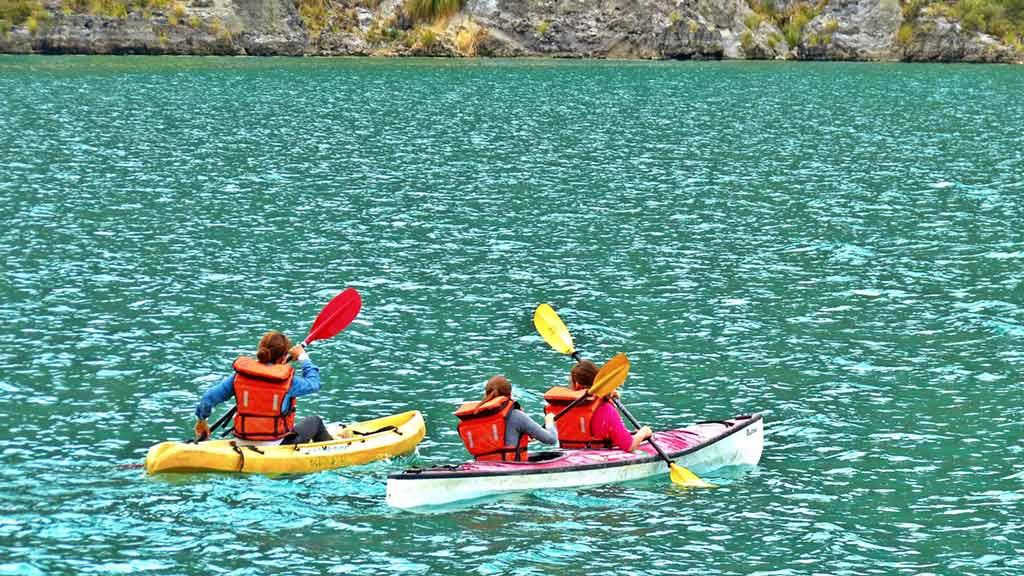 kayaking on quilotoa lake