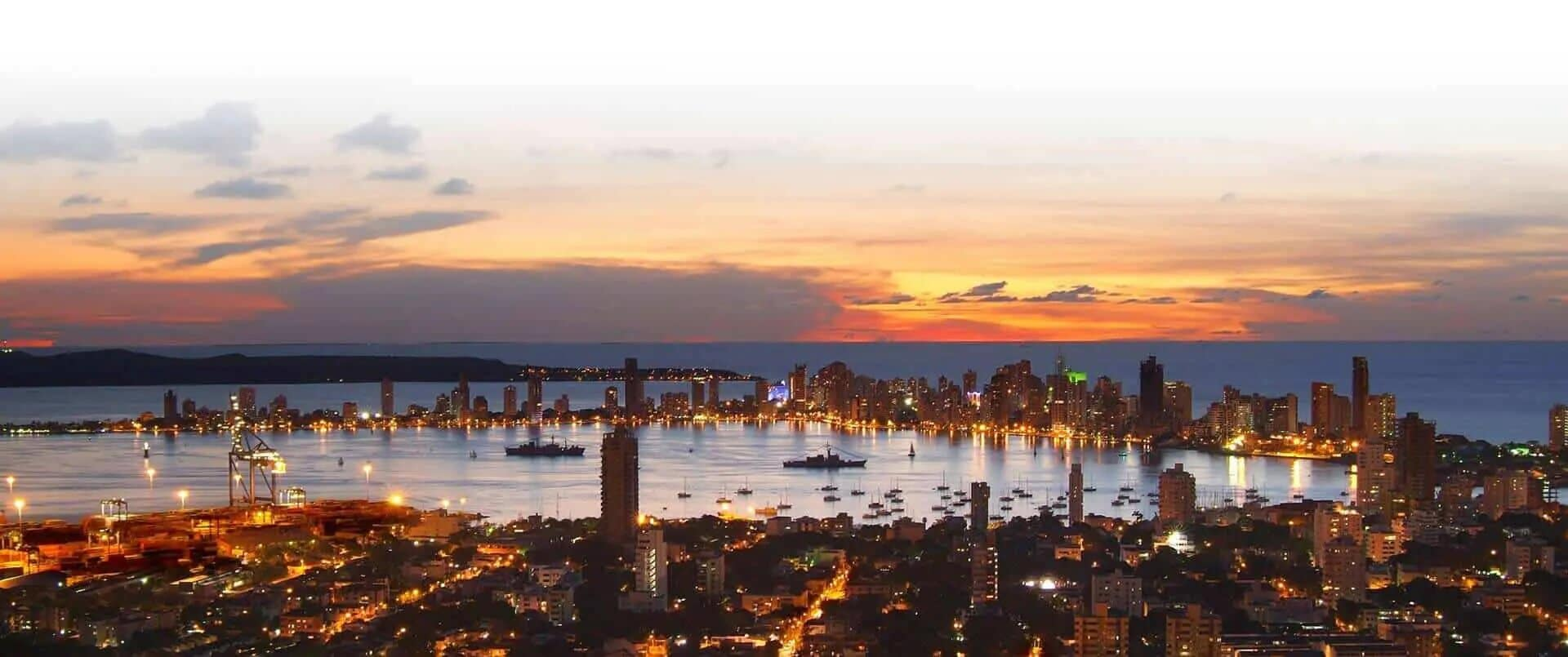 cartagena colombia cityscape at night